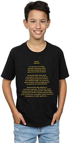 Star Wars Jungen A New Hope Opening Crawl T-Shirt Schwarz 7-8 Years