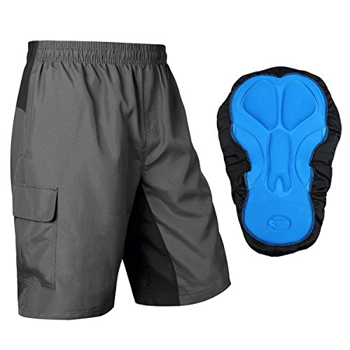 Baleaf Mens Mountain Bike Shorts 3D Padded Baggy MTB Cycling Shorts  Breathable Quick Dry Grey Black Size XL 9364c760c