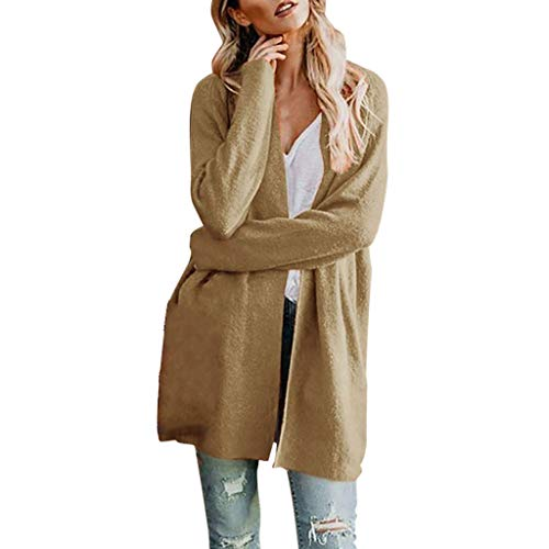 LEKODE Women Coat Fashion Beautiful Autumn Wild Long Sleeve Solid Tunic(Khaki,M)