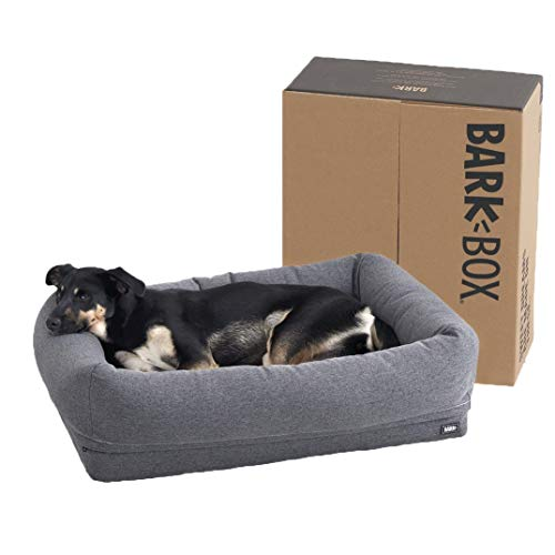 BarkBox Memory Foam Dog Bed | Plush Orthopedic Joint Relief 2-1 Crate or Pillow Bed, Machine Washable + Removable Cover; Waterproof Lining, Includes Squeaker Toy | Medium | Grey