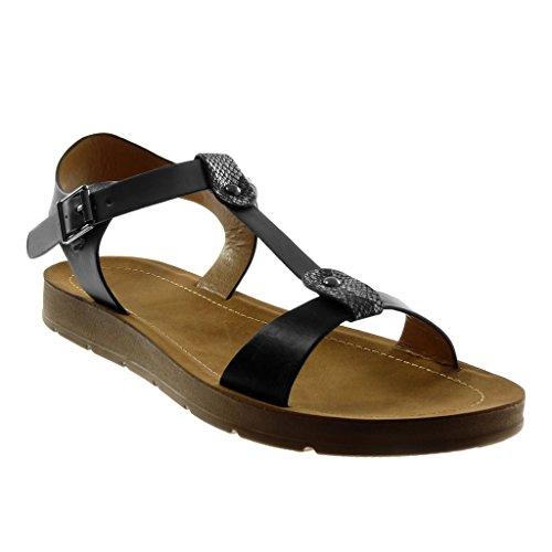 Tobillo Correa Piel 2 De Sandalias Cm Tachonado Mujer Zapatillas Serpiente Plataforma Tanga Negro Moda Angkorly wtUxqX0AU