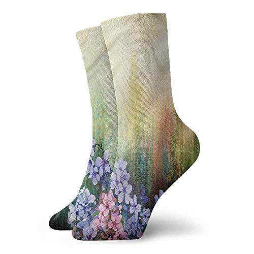 - Men's Socks Flower,Violets Field Brush Strokes 3.4
