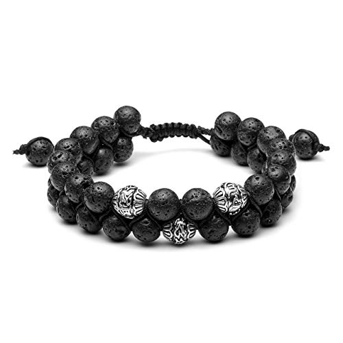 Jovivi Men Women 8mm Double Layer Natural Energy Healing Stone Essential Oil Lava Rock Yoga Beads Bracelets Adjustable Braided Rope for Couples