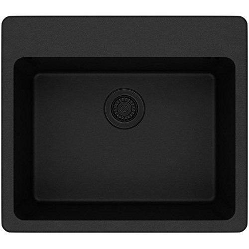 (Elkay Quartz Classic ELG2522BK0 Single Bowl Drop-in Sink, Black)