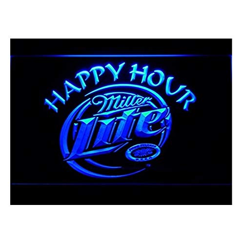 Miller Lite Happy Hour Beer Bar LED Neon Light Sign Man Cave -