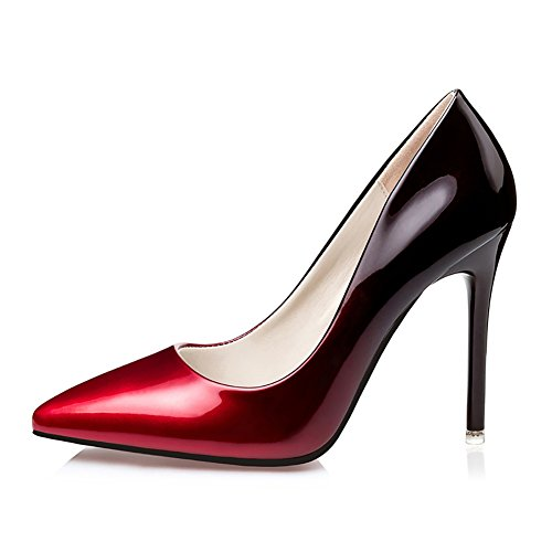 Women's High Heel Stiletto Pointed Toe Pumps (Red) - 6