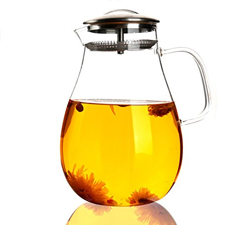 Flower Iced Tea - Large Glass Water Pitcher, 68 Ounces / 2000 Milliliters Tea Kettle with Removable Stainless Steel Infuser Lid and Spout, a Perfect Flower Teapot and Iced Tea Maker