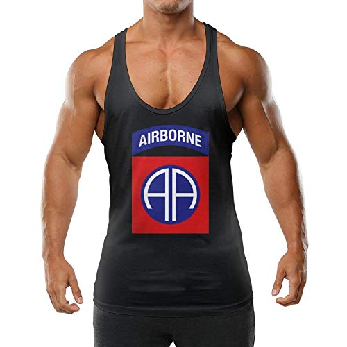 FYEIOUSS 82nd Airborne Division Adults Muscle Sleeveless Washed Stringer Bodybuilding Gym Tank Tops Workout Vest