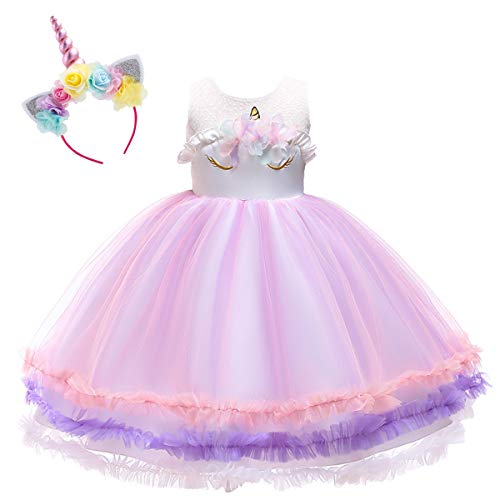 Baby Toddler Girls Unicorn Birthday Mouse Tulle Tutu Dress Sleeveless Princess Fancy Dress Up Costume Wedding Xmas Party Gown S# Flower Pink 11-12 Years