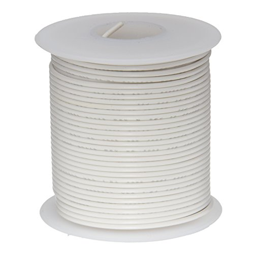Remington Industries 22PTFESTRWHI100 22 AWG Gauge Stranded Hook Up Wire, 100 feet Length, White, 0.0253'' Diameter, PTFE, 600 Volts
