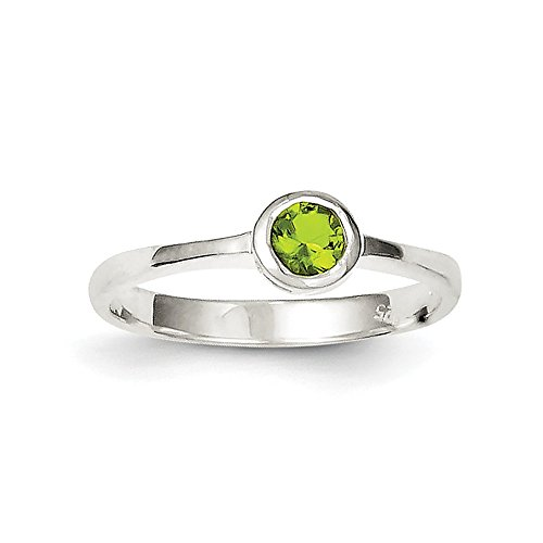 FB Jewels Solid Sterling Silver Lime Green Round Bezel CZ Cubic Zirconia Ring Size 6