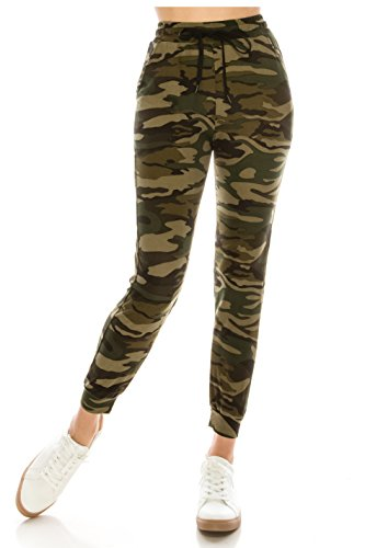 ALWAYS Women Drawstrings Jogger Sweatpants - Skinny Fit Premium Soft Stretch Camo Military Army Pockets Pants S/M by ALWAYS (Image #2)