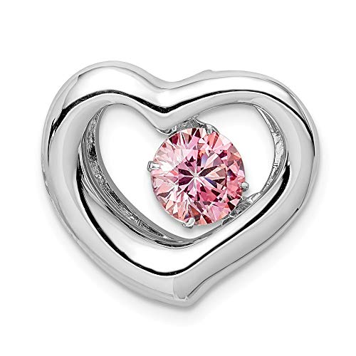 - Sterling Silver Platinum-plate Swar Zirconian Vibrant Pink CZ Heart Pendant