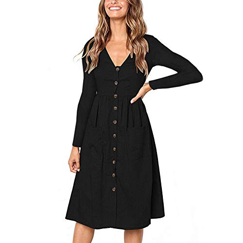Sherostore ♡ Women's Dresses Long Sleeve Sundress Button Down Casual Swing A-Line T-Shirt Dress with Pockets Black