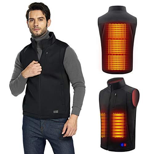 🥇 Chaleco Calefactable Electrico para Hombre y Mujer – Chaleco Ligero USB con Doble Control de Temperatura independiente para Moto