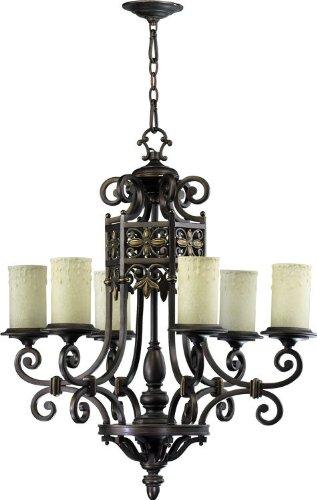 6131 Crystal (Quorum Marcela 6 Light Candle Chandelier in Oiled Bronze)