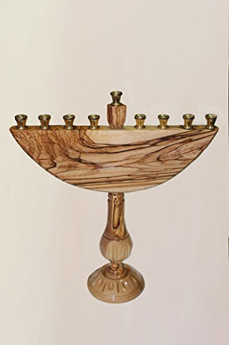 Olive Wood Candles Holder Hanukkah Menorah Hand-Painted with Illustration or Dedication by AlmazOliveWoodGifts