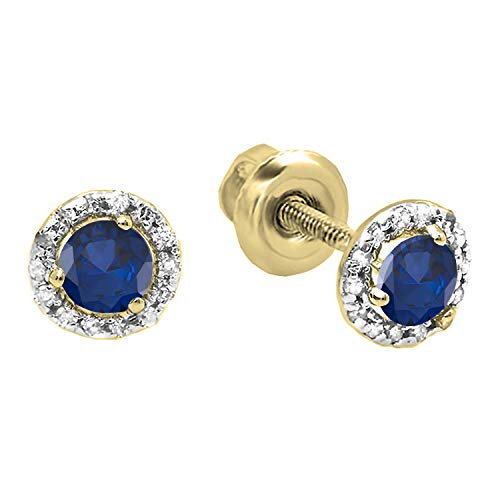 Dazzlingrock Collection 18K 4 MM Each Round Blue Sapphire & White Diamond Ladies Halo Style Stud Earrings, Yellow Gold