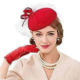 JYDIY Women's Wool Pillbox Fascinator Hat with Veil Ladies Felt Wedding Derby Party Fedoras Chapeau Femme Cap Red