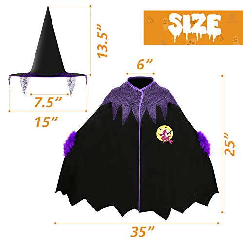 Amor Toddler Wicked Witch Costume,Fairytale Witch Costume with Wizard Hat for Girls Perfect for Halloween Dress Up Party,School Play and More Black