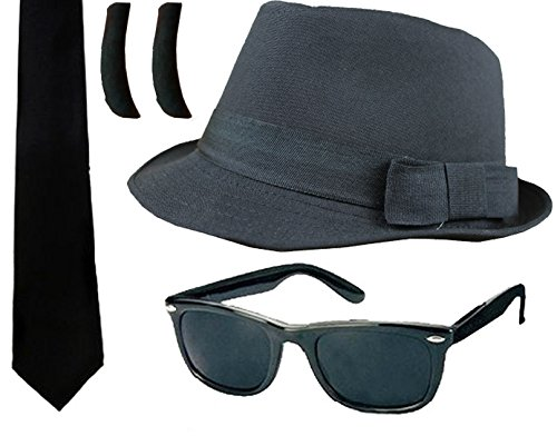 Blues Brothers Fancy Dress Accessory Kit. Add this cost-effective kit to a white shirt and black trousers (or a dark suit) and you have an instant look!