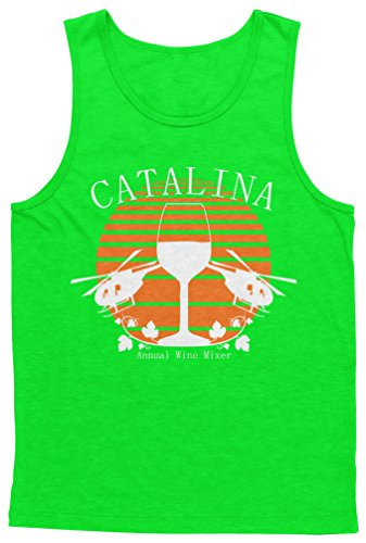 (Blittzen Mens Tank Catalina Annual Wine Mixer, XL, Lime Green)