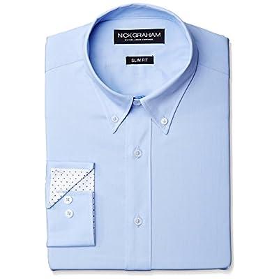 Discount Nick Graham Men\'s Slim Fit Solid Poplin Button Down Collar Dress Shirt 9siMp4wt