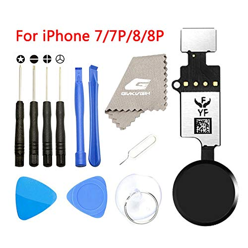 - Latest Home Button Replacement for iPhone 7 7Plus 8 8Plus,GVKVGIH Home Button Touch ID Main Key Flex Cable Assembly Replacement with Repair Tools for iPhone 7 7P 8 8P (Version4.0 Black)