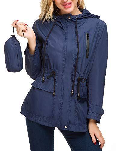 Romanstii Quick Dry Rain Jacket Women Windbreaker Packable Raincoat...