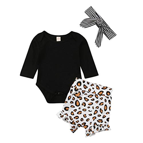 MOGOV Toddler Baby Girl 3Pcs Clothes— Romper Tops +Leopard Print Pants +Headband Stripe Outfits -