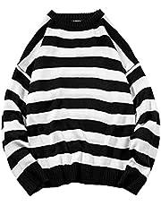 Heren gestreept baggy sweatshirt met lange mouwen O-hals Lantaarnmouwen Pullover Tops Lichtgewicht T-shirt T-shirts Losse pullovers Trui Mode gestreepte ronde hals