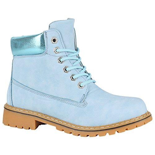 Stiefelparadies Unisex Damen Herren Worker Boots Outdoor Schuhe Schnürstiefel Flandell Hellblau Metallic