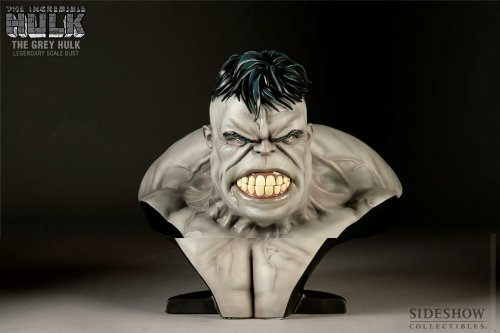 MARVEL Polystone Collectibles: Grey Incredible Hulk Exclusive Edition Legendary Scale Bust Sideshow Collectibles!