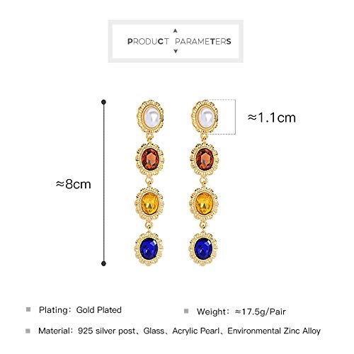 Miss Kiss Hypoallergenic 925 Silver Post Colorful Beaded Earrings Fashion Dangle Drop Earrings for Women and Girls ED00112c