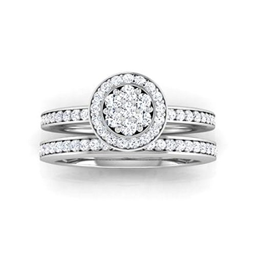 14K Or blanc, 0.77carat Diamant Taille ronde (IJ | SI) en diamant