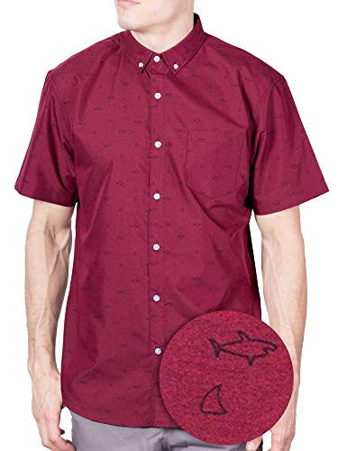 Visive Hawaiian Shirt Short Sleeve Button Down Up Shirts for Mens Red Shark Line,4X-Large (Safari Big Shirt)
