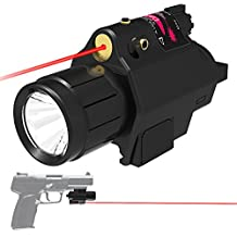 Niniso 2 in 1 Tactical CREE Q5 LED Flashlight 200 Lumen Red Laser Sight Combo with Compact Rail Mount for Pistols Handgun
