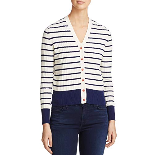 - Tory Burch Womens Striped Ribbed Cardigan Top Ivory XS