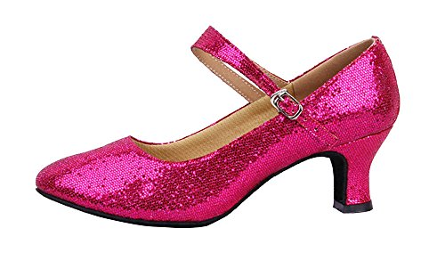 staychicfashion Women's Glitter Latin Ballroom Dance Shoes Pointed-Toe Y Strap Dancing Heels(9, Pink) (Best Heels For Dancing)