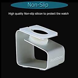 Apple Watch Stand, Rotibox iWatch Premium Aluminum Metal Charging Stand Charging Dock Bracket Docking Station Stock Cradle Holder for Apple Watch Sport Edition 38mm and 42mm 2015 [Charging Cable & Watch Case & Watch NOT INCLUDED]