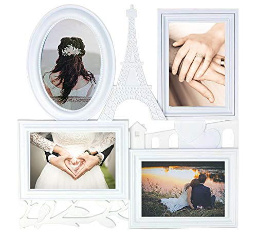JOICE GIFT White Wall Large Hanging Collage Picture Frame 4 Opening 4