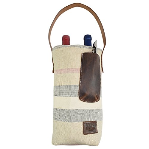 (Artisan Canvas Double Wine Holder Bag with Leather Handle Handmade by Hide & Drink :: Rojo Moreno)