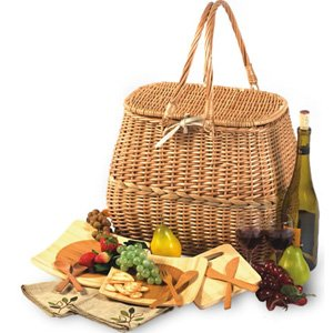 Picnic Plus Eco Friendly 2 Person Picnic Basket With Bamboo Fiber Plates, Bamboo Utensils by Picnic Plus