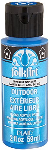 FolkArt Outdoor Acrylic Paint in Assorted Colors (2 Ounce), 1609 Metallic Blue - Paint Blue Metallic