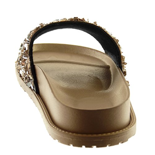 Slip Sandalias Chanclas Moda Marrón Cm Mujer 5 on Angkorly 4 Zapatillas Mules Strass Plataforma Brillantes BwtYxWIq