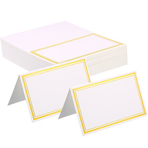 Zhanmai Place Cards Table Tent Name Place Cards Seating Cards Name Tags with Gold Foil Border for Wedding and Banquets (120) by Zhanmai