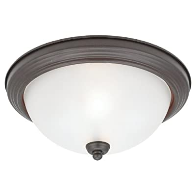 Sea Gull Lighting 77064-814 2-Light Acadia Close-To-Ceiling Fixture, Satin Etched Glass and Misted Bronze