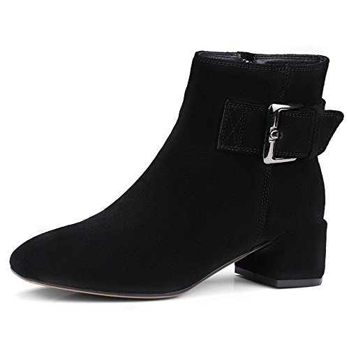 Nio Sju Mocka Läder Womens Fyrkantig Tå Chunky Klack Spänne Affärer Handgjorda Elegant Fotled Stövlar