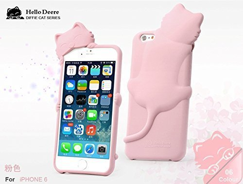 """""""Hello Deere"""" Lovely 3D Cat Cartoon Soft Shell Case with Earphone Jack Dust Cover for iPhone 6"""