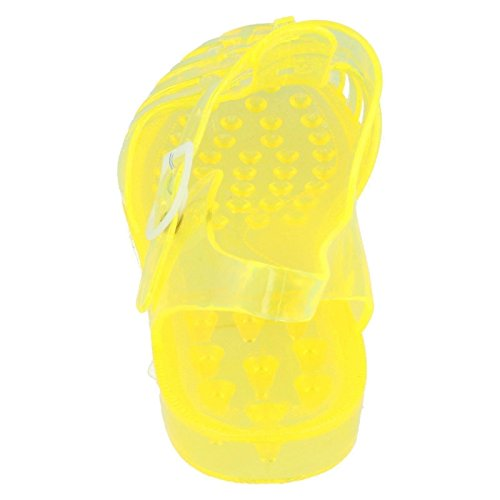 Ladies Classic Transparent Buckled Jelly Shoes Yellow DxkvrF27S